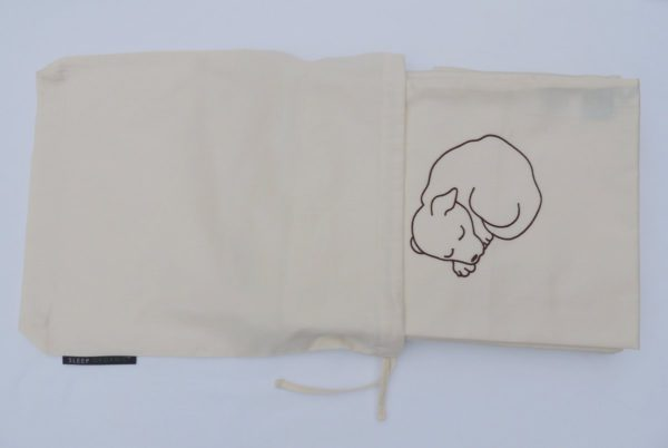 Snoozy dog embroidered single organic duvet set 2