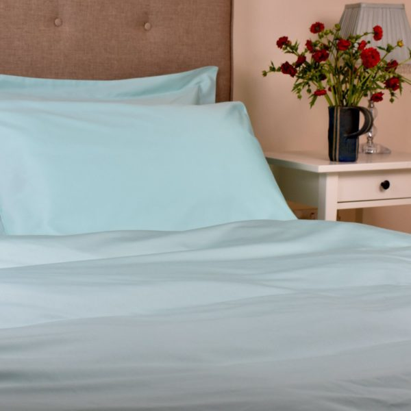 Aquamarine organic cotton duvet cover 1