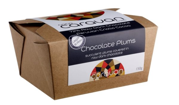 Vegan Chocolate Dried plums (48%) covered with raw dark chocolate.