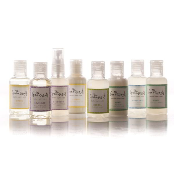 Try all of our organic cleaning and household products in the Greenscents Minis Collection.