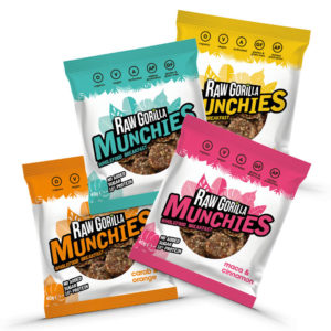 Raw Gorilla Munchies Taster Pack - 4 flavours of delicious vegan & organic healthy snacks