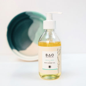Healing organic bath and body oil with lavender and ylang ylang