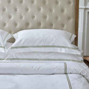 Double cord line embroidered organic cotton duvet sets