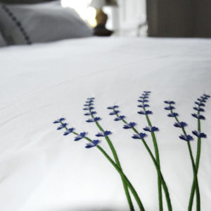 Lavender dreams embroidered organic cotton duvet sets